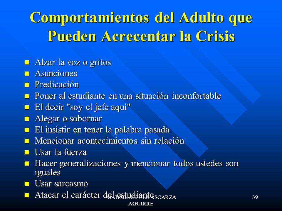 Comportamientos del Adulto que Pueden Acrecentar la Crisis