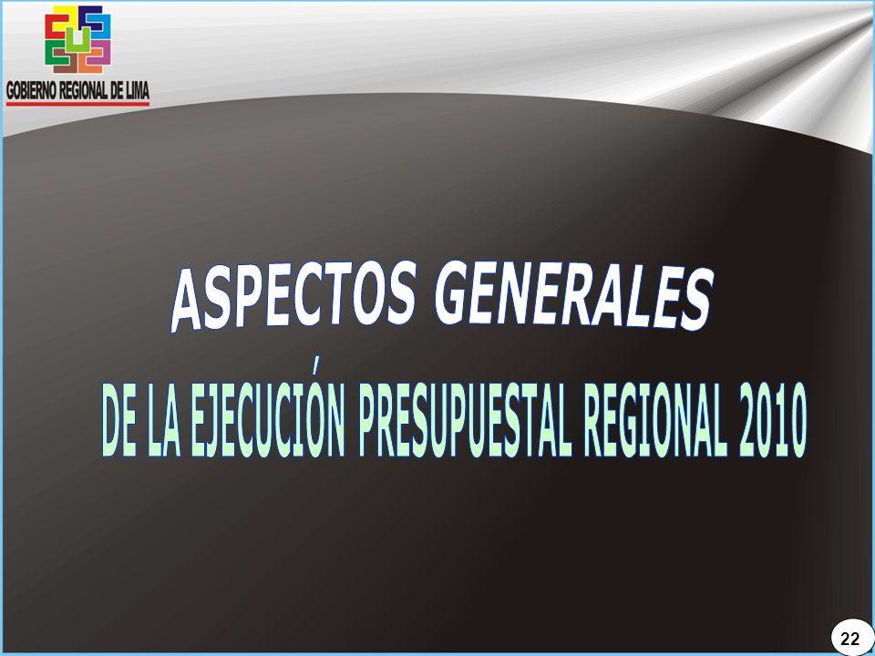 DE LA EJECUCIÓN PRESUPUESTAL REGIONAL 2010