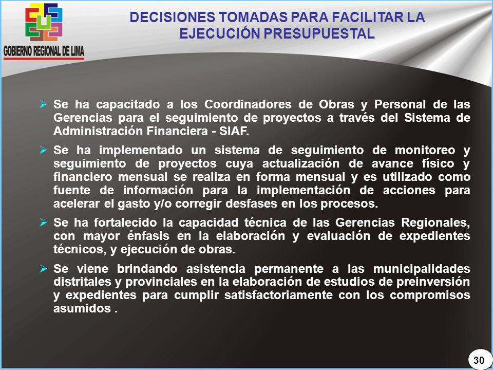 DECISIONES TOMADAS PARA FACILITAR LA EJECUCIÓN PRESUPUESTAL