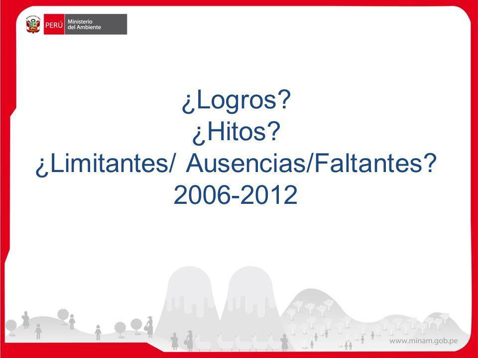 ¿Logros ¿Hitos ¿Limitantes/ Ausencias/Faltantes 2006-2012