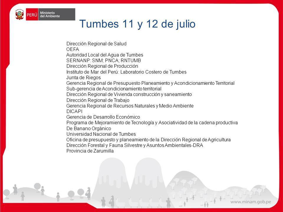 Tumbes 11 y 12 de julio Dirección Regional de Salud OEFA