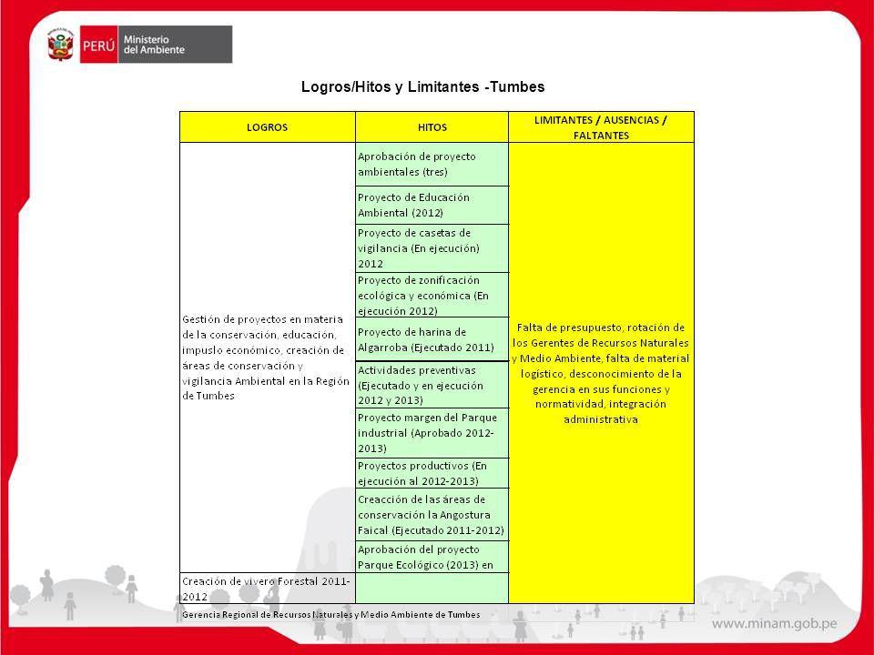 Logros/Hitos y Limitantes -Tumbes