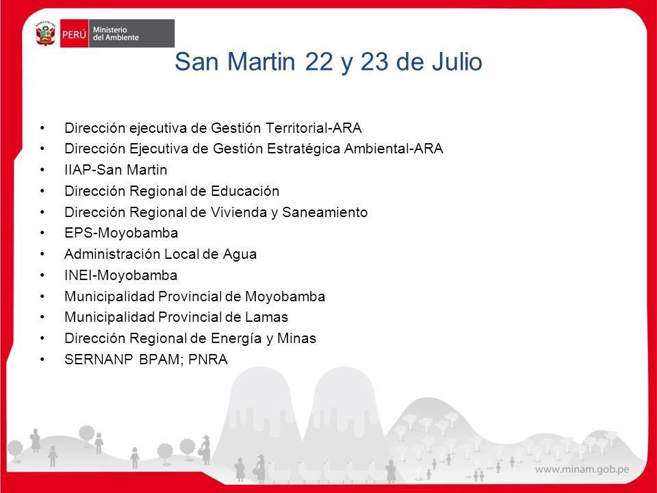 San Martin 22 y 23 de Julio Dirección ejecutiva de Gestión Territorial-ARA. Dirección Ejecutiva de Gestión Estratégica Ambiental-ARA.