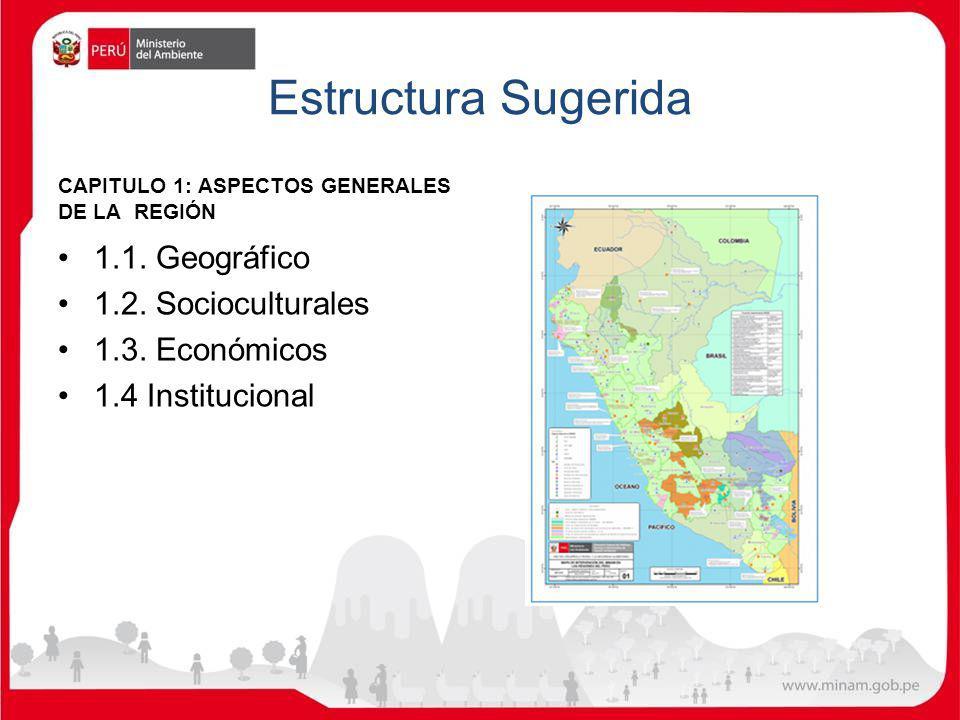 Estructura Sugerida 1.1. Geográfico 1.2. Socioculturales