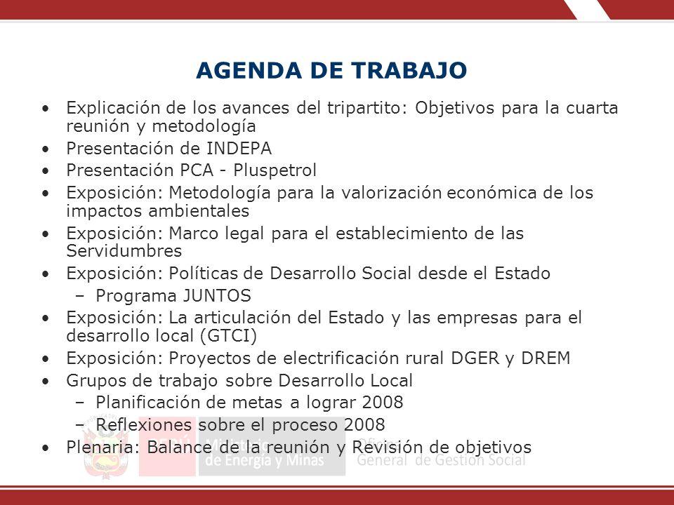 AGENDA DE TRABAJO Explicación de los avances del tripartito: Objetivos para la cuarta reunión y metodología.
