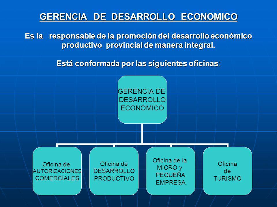 GERENCIA DE DESARROLLO ECONOMICO Es la responsable de la promoción del desarrollo económico productivo provincial de manera integral.