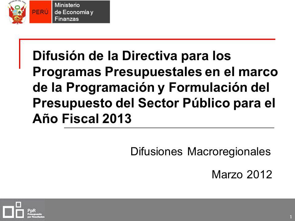 Difusión de la Directiva para los Programas Presupuestales en el marco de la Programación y Formulación del Presupuesto del Sector Público para el Año Fiscal 2013