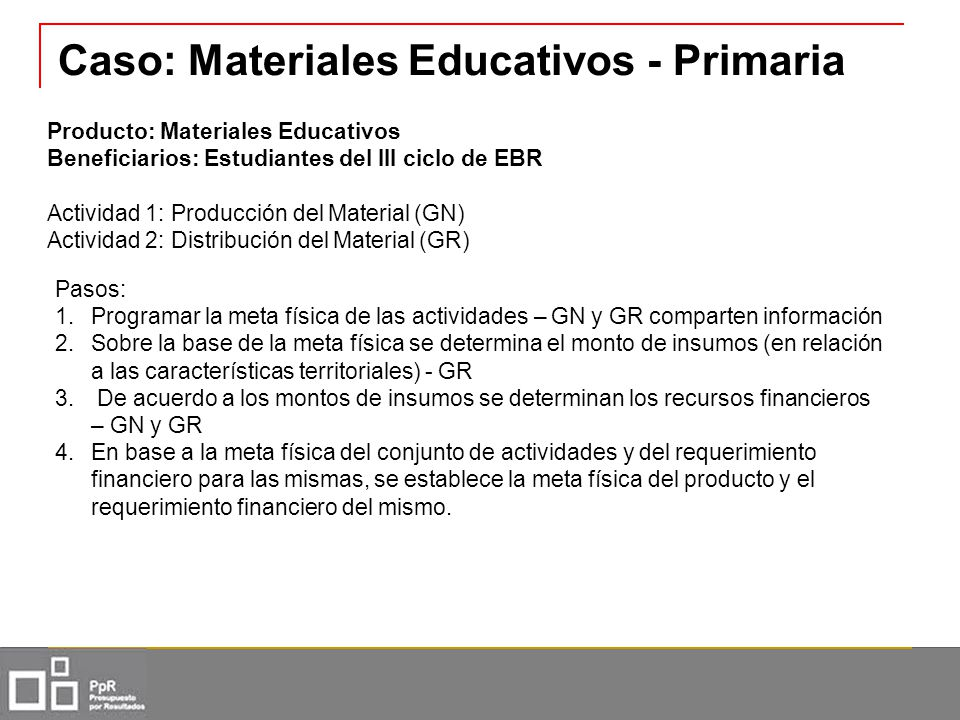 Caso: Materiales Educativos - Primaria