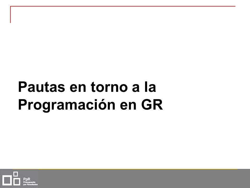 Pautas en torno a la Programación en GR