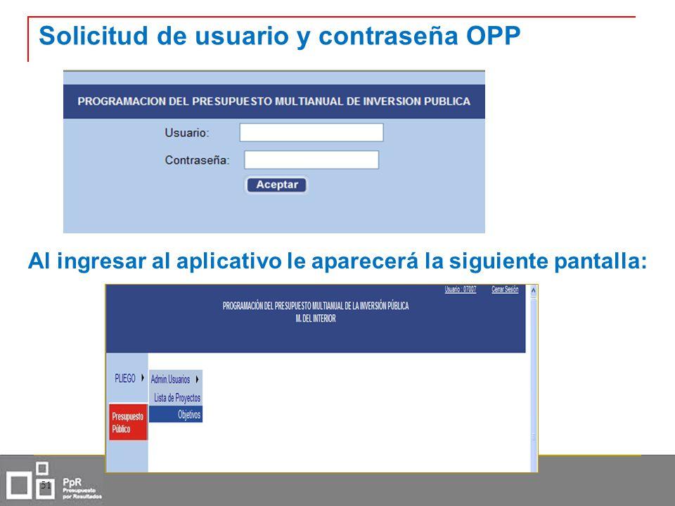 Solicitud de usuario y contraseña OPP