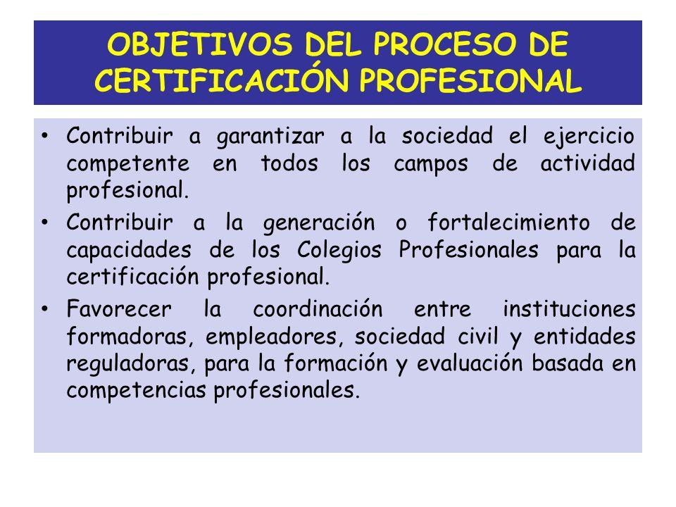 OBJETIVOS DEL PROCESO DE CERTIFICACIÓN PROFESIONAL
