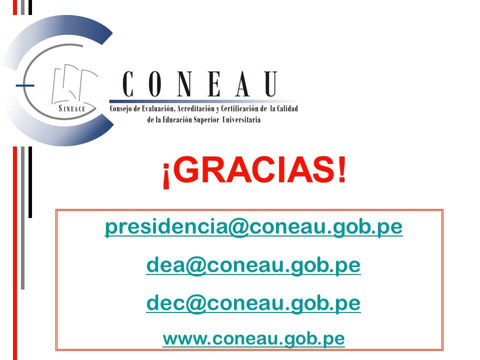 ¡GRACIAS! presidencia@coneau.gob.pe dea@coneau.gob.pe