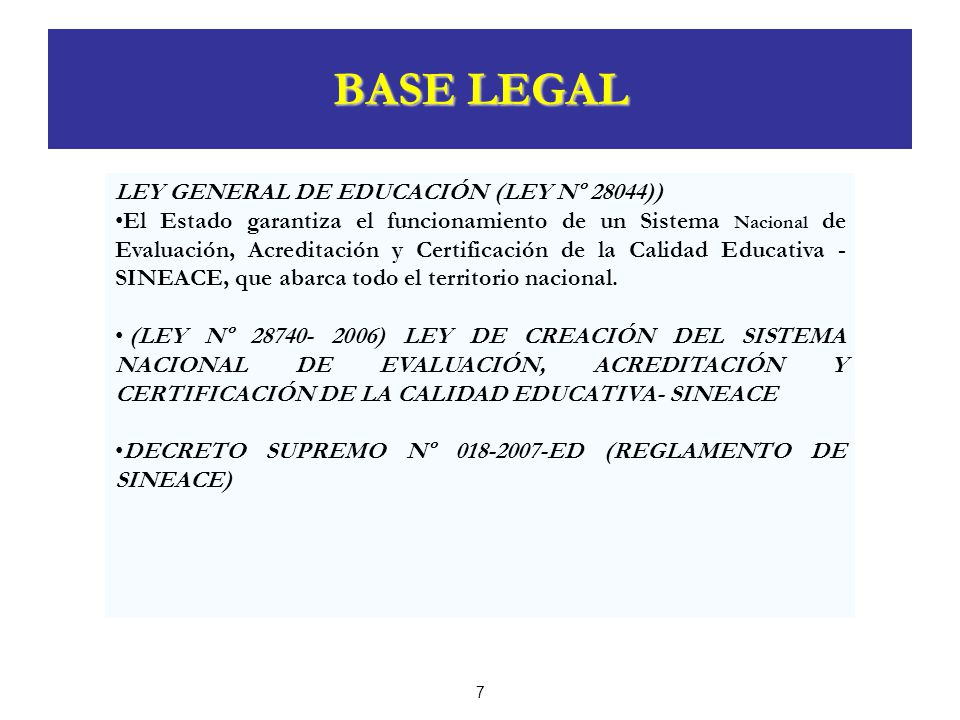 BASE LEGAL LEY GENERAL DE EDUCACIÓN (LEY Nº 28044))