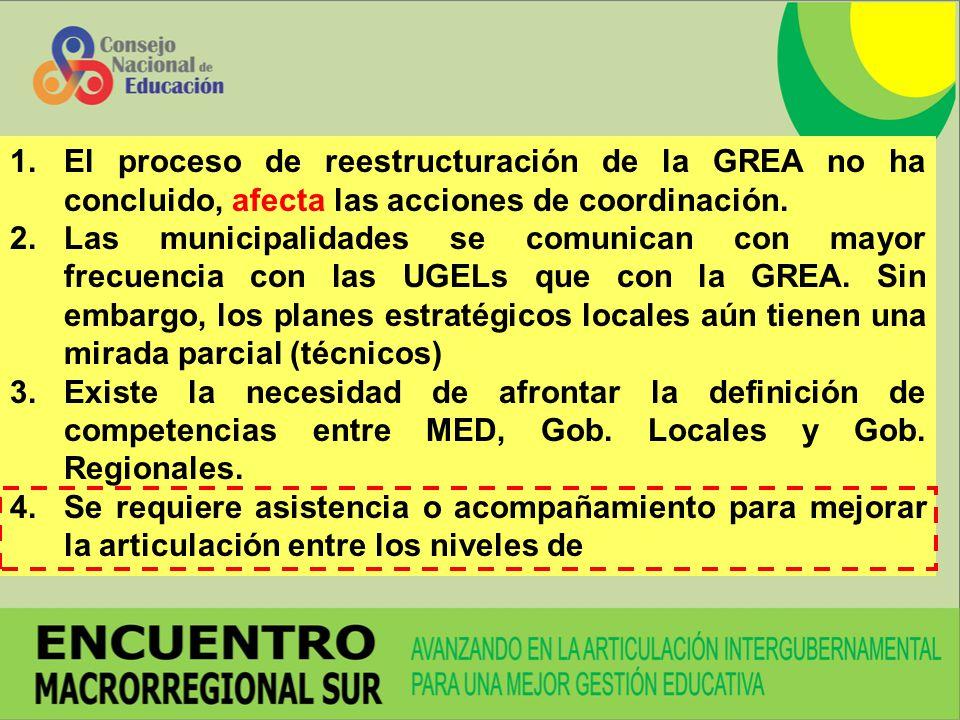 El proceso de reestructuración de la GREA no ha concluido, afecta las acciones de coordinación.