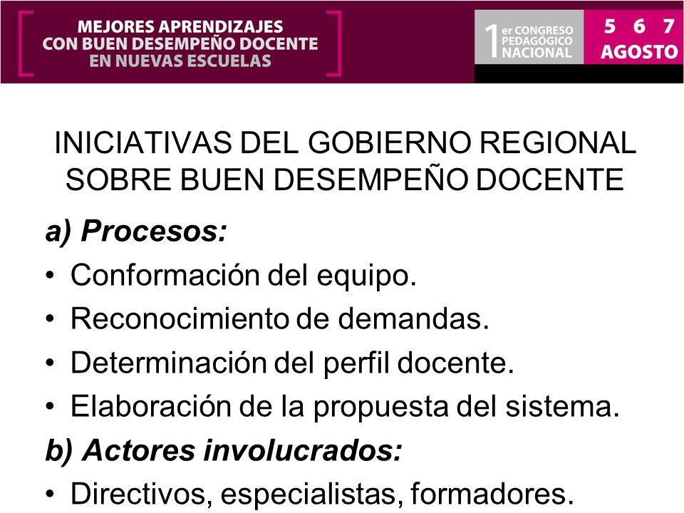 INICIATIVAS DEL GOBIERNO REGIONAL SOBRE BUEN DESEMPEÑO DOCENTE