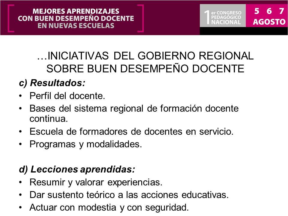 …INICIATIVAS DEL GOBIERNO REGIONAL SOBRE BUEN DESEMPEÑO DOCENTE