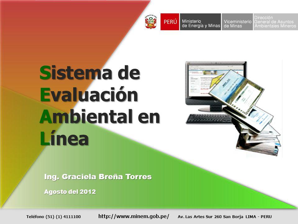 Sistema de Evaluación Ambiental en Línea Ing. Graciela Breña Torres