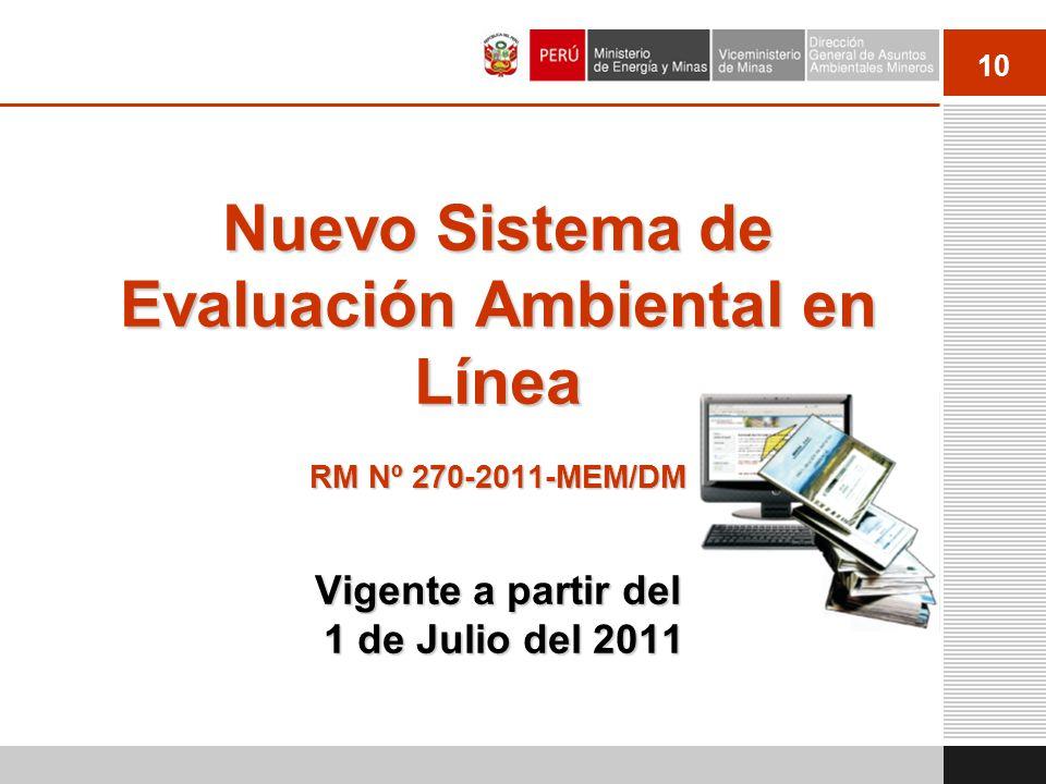 Nuevo Sistema de Evaluación Ambiental en Línea RM Nº 270-2011-MEM/DM Vigente a partir del 1 de Julio del 2011