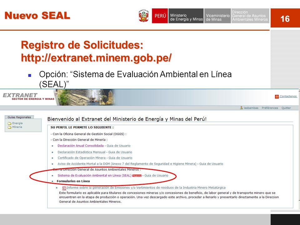 Registro de Solicitudes: http://extranet.minem.gob.pe/