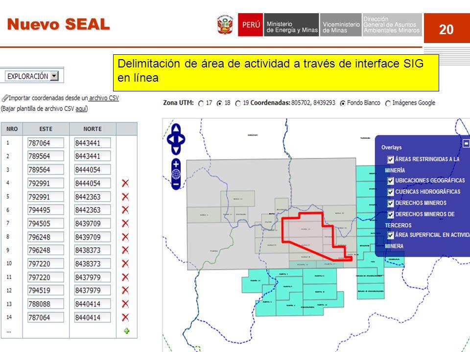 Nuevo SEAL Delimitación de área de actividad a través de interface SIG en línea Event 20