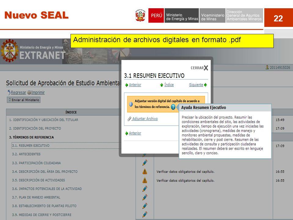 Nuevo SEAL Administración de archivos digitales en formato .pdf Event