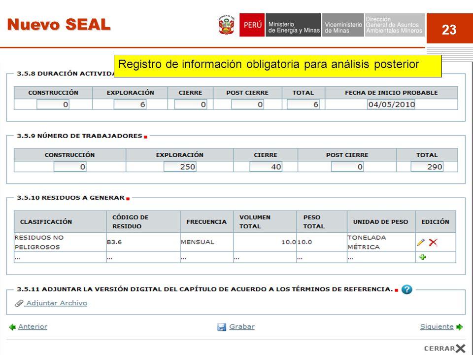 Nuevo SEAL Registro de información obligatoria para análisis posterior