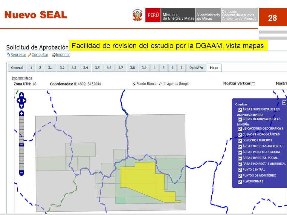 Nuevo SEAL Facilidad de revisión del estudio por la DGAAM, vista mapas