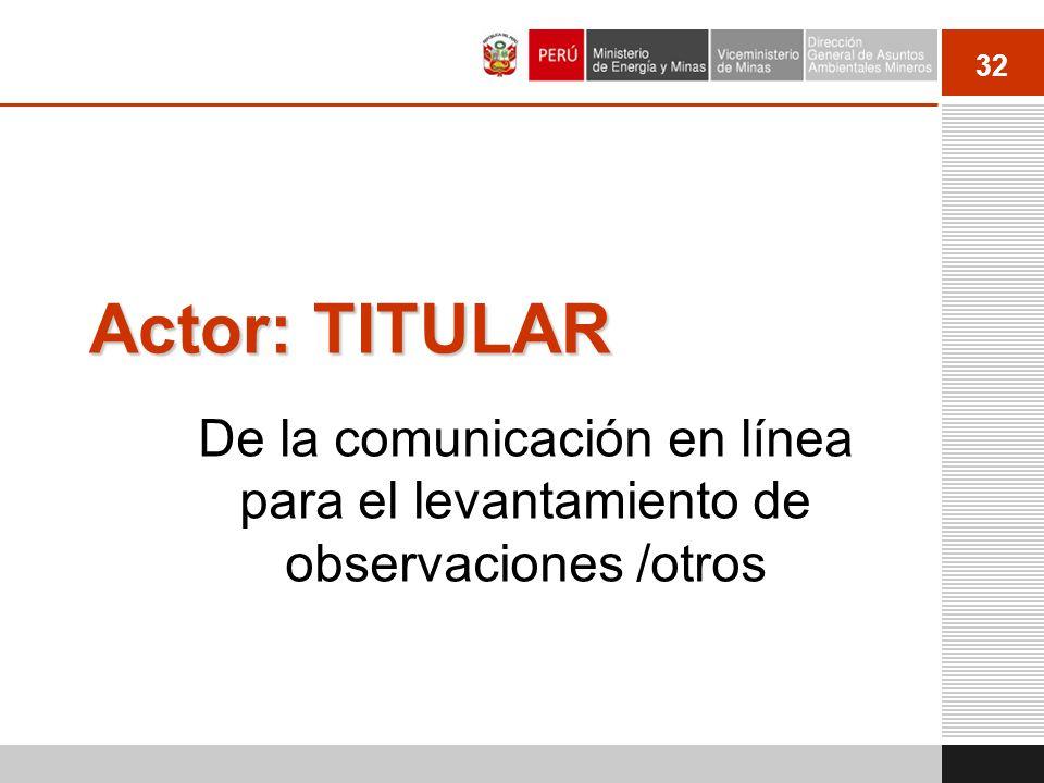 Actor: TITULAR De la comunicación en línea para el levantamiento de observaciones /otros 32