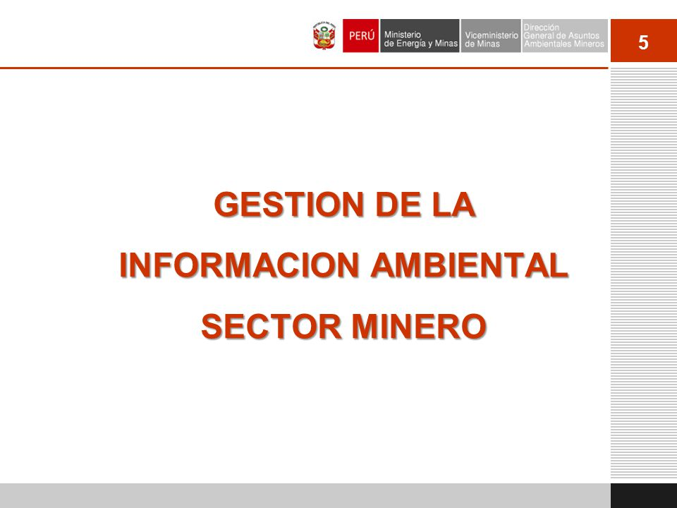 GESTION DE LA INFORMACION AMBIENTAL SECTOR MINERO