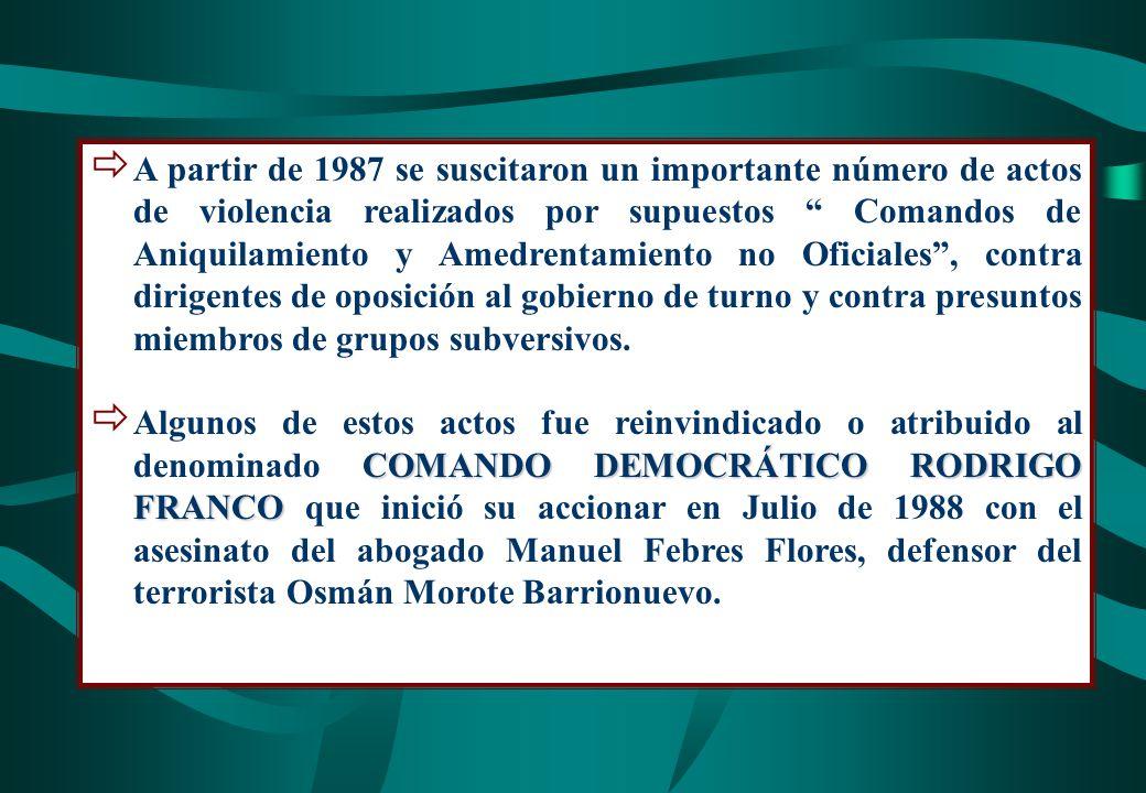 A partir de 1987 se suscitaron un importante número de actos de violencia realizados por supuestos Comandos de Aniquilamiento y Amedrentamiento no Oficiales , contra dirigentes de oposición al gobierno de turno y contra presuntos miembros de grupos subversivos.