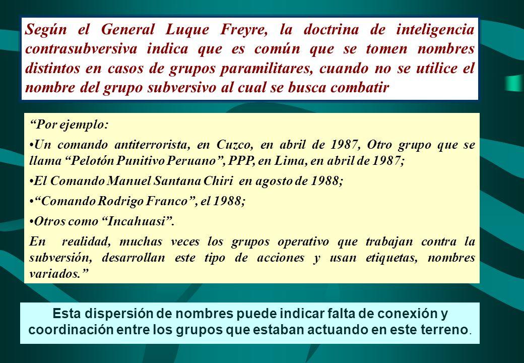 Según el General Luque Freyre, la doctrina de inteligencia contrasubversiva indica que es común que se tomen nombres distintos en casos de grupos paramilitares, cuando no se utilice el nombre del grupo subversivo al cual se busca combatir