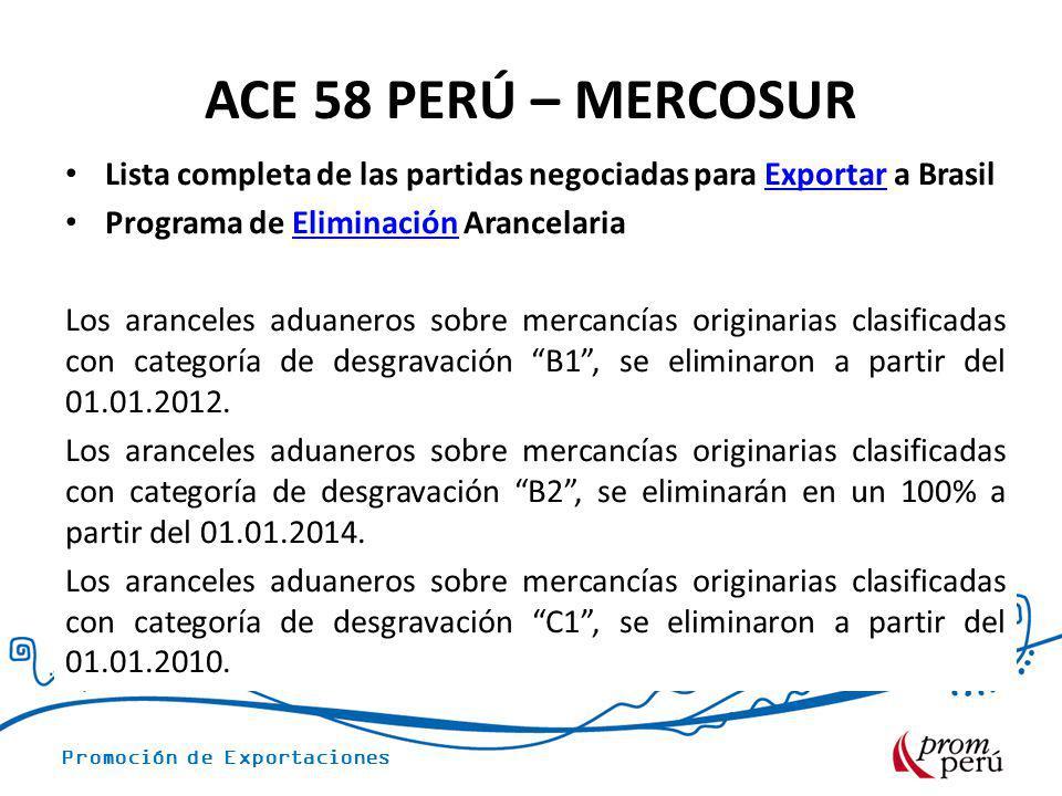 ACE 58 PERÚ – MERCOSUR Lista completa de las partidas negociadas para Exportar a Brasil. Programa de Eliminación Arancelaria.