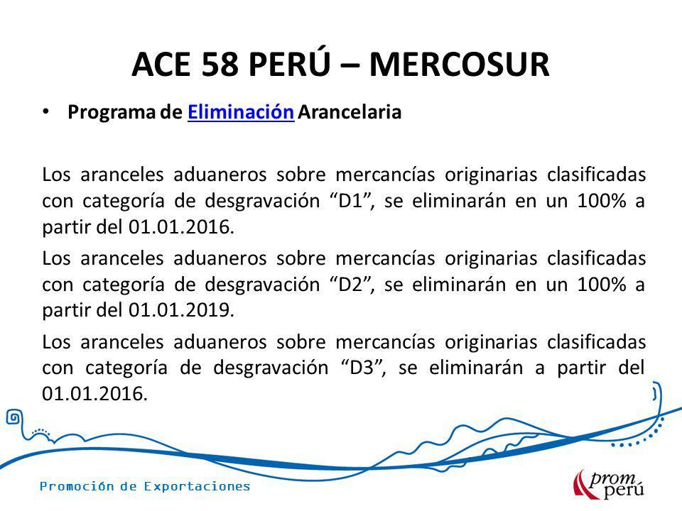 ACE 58 PERÚ – MERCOSUR Programa de Eliminación Arancelaria