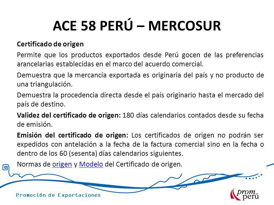 ACE 58 PERÚ – MERCOSUR