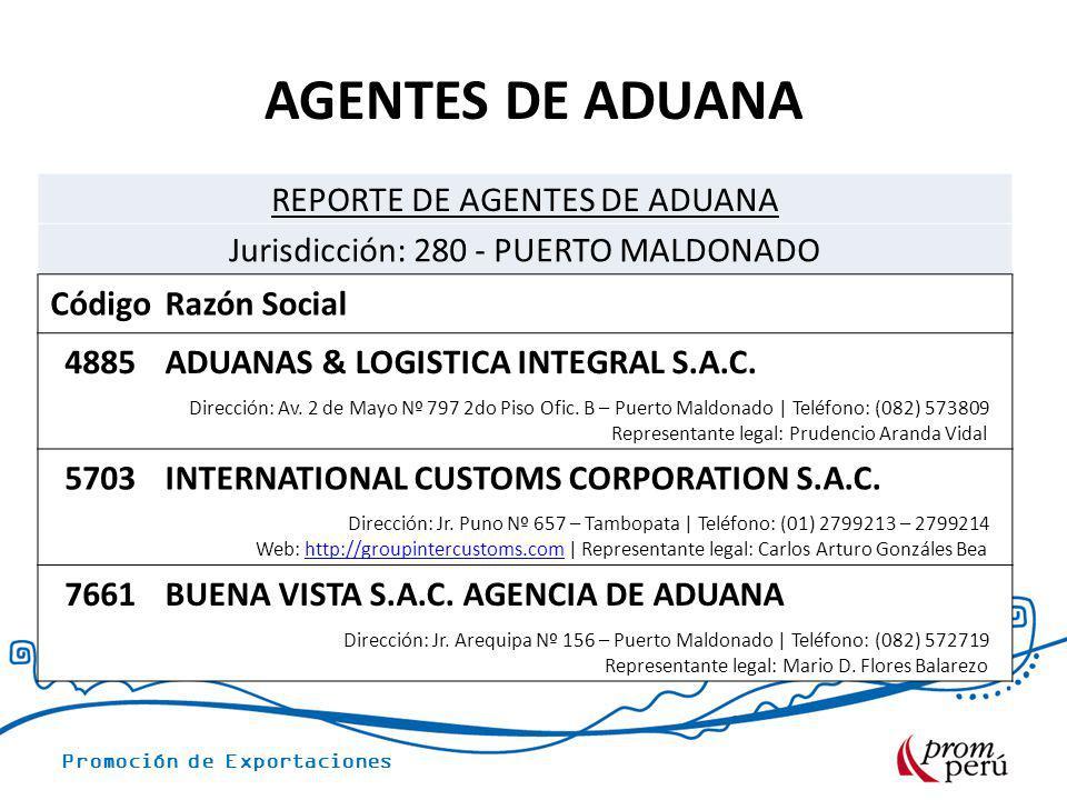 AGENTES DE ADUANA REPORTE DE AGENTES DE ADUANA