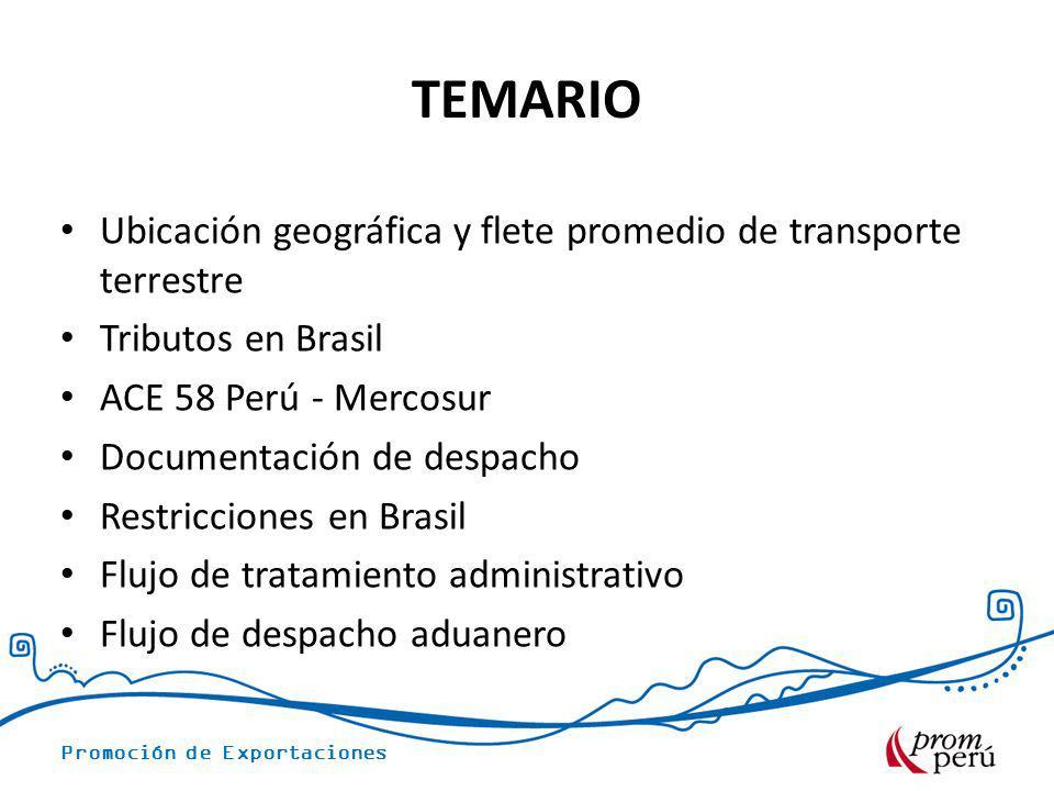 TEMARIO Ubicación geográfica y flete promedio de transporte terrestre