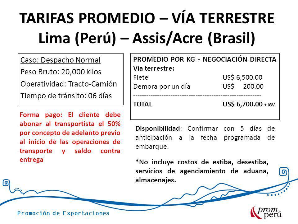 TARIFAS PROMEDIO – VÍA TERRESTRE Lima (Perú) – Assis/Acre (Brasil)