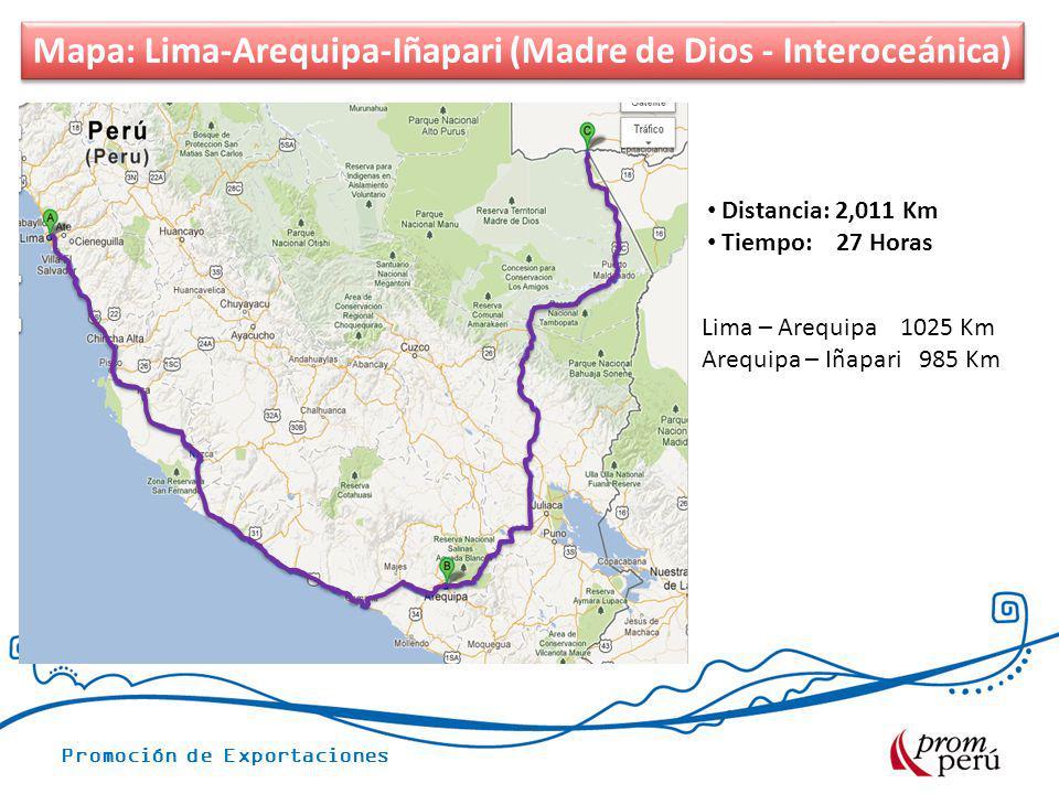 Mapa: Lima-Arequipa-Iñapari (Madre de Dios - Interoceánica)