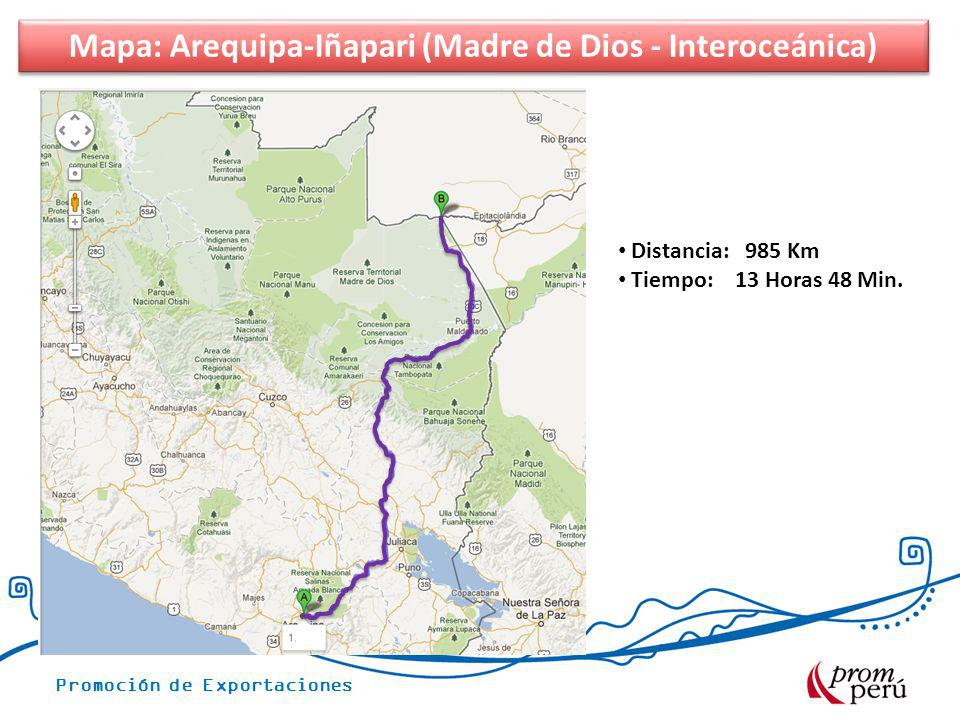 Mapa: Arequipa-Iñapari (Madre de Dios - Interoceánica)