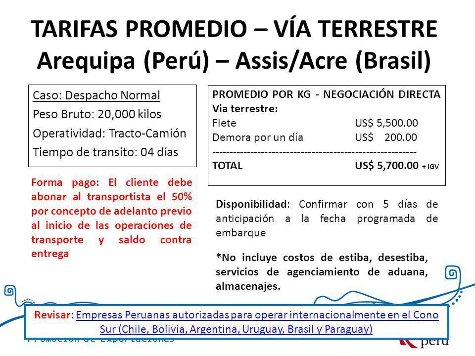 TARIFAS PROMEDIO – VÍA TERRESTRE Arequipa (Perú) – Assis/Acre (Brasil)