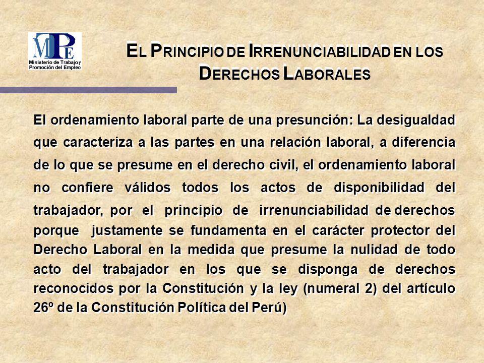 EL PRINCIPIO DE IRRENUNCIABILIDAD EN LOS