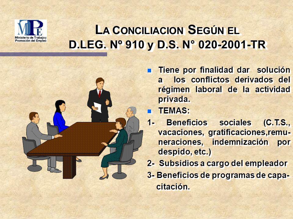 LA CONCILIACION SEGÚN EL D.LEG. Nº 910 y D.S. N° 020-2001-TR