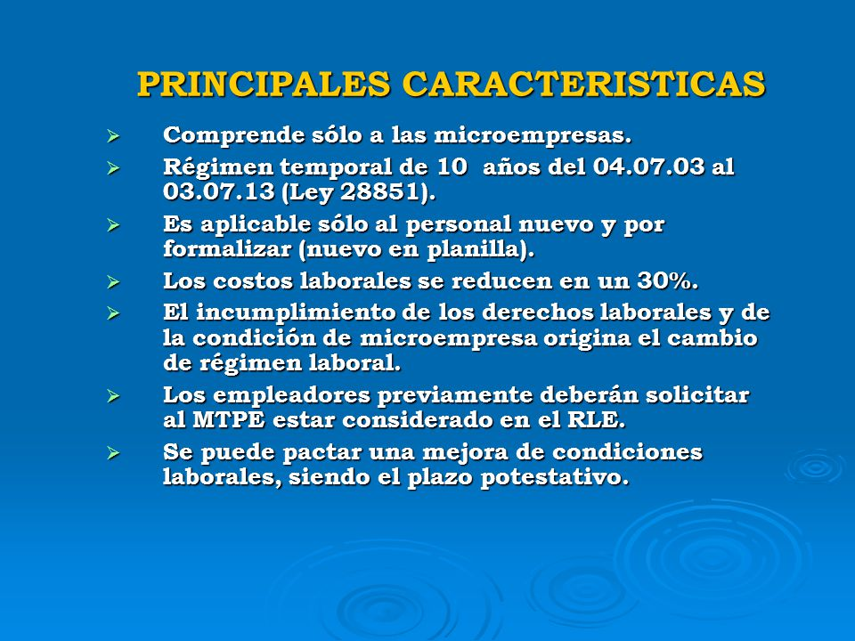 PRINCIPALES CARACTERISTICAS