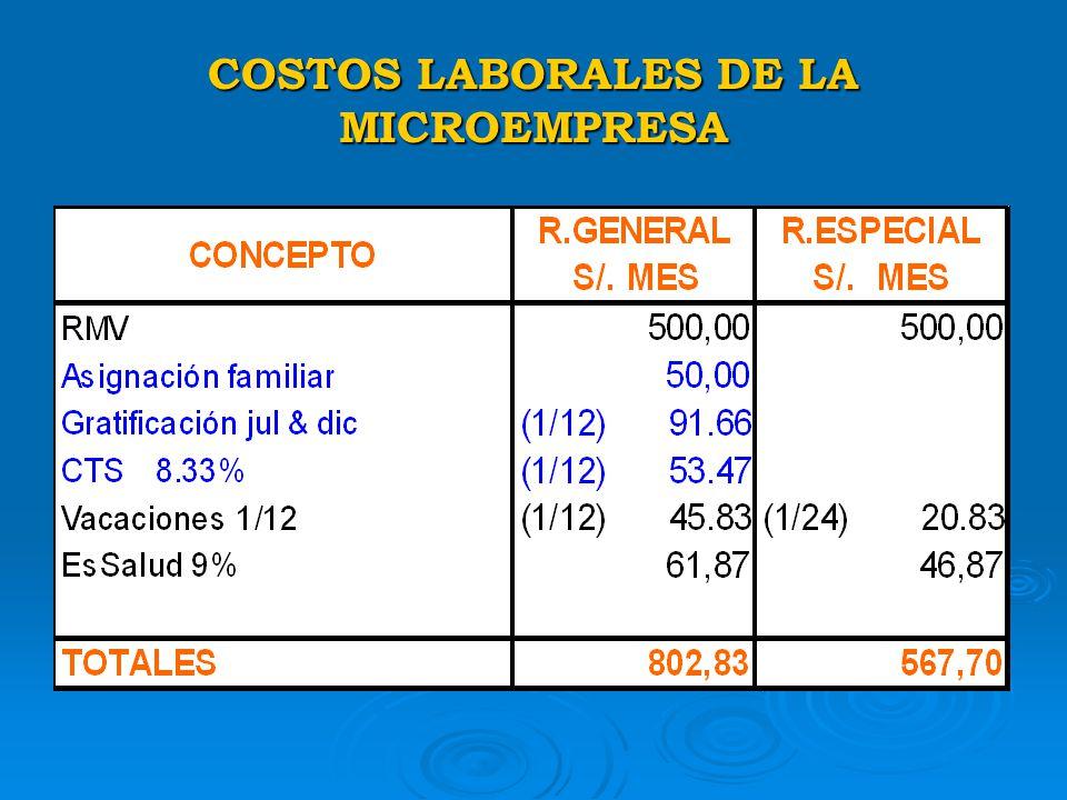 COSTOS LABORALES DE LA MICROEMPRESA
