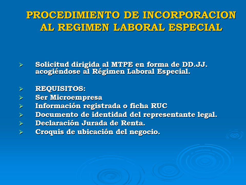PROCEDIMIENTO DE INCORPORACION AL REGIMEN LABORAL ESPECIAL