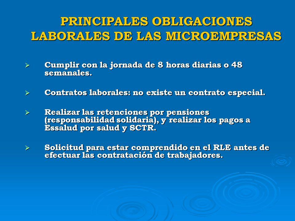 PRINCIPALES OBLIGACIONES LABORALES DE LAS MICROEMPRESAS