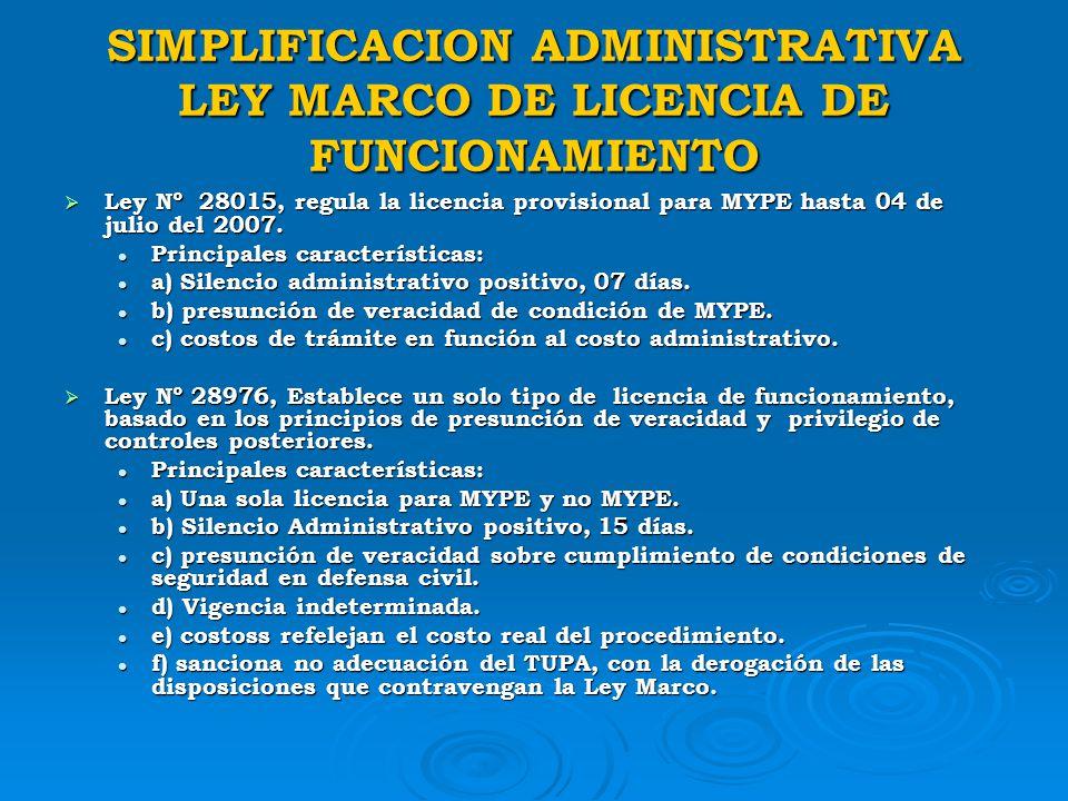 SIMPLIFICACION ADMINISTRATIVA LEY MARCO DE LICENCIA DE FUNCIONAMIENTO