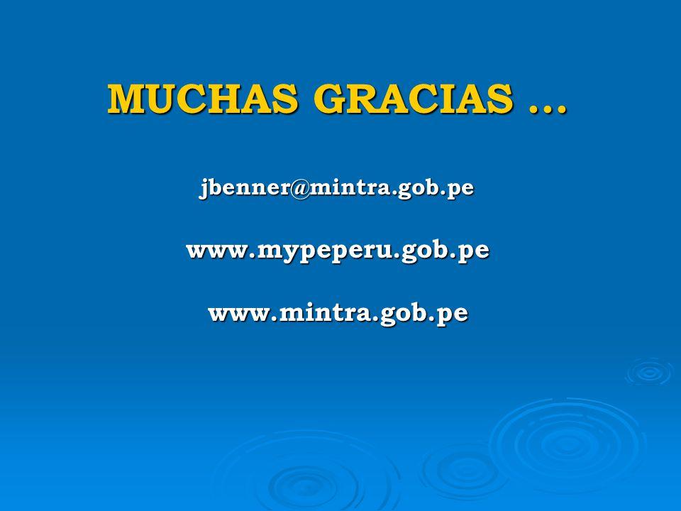 MUCHAS GRACIAS. jbenner@mintra. gob. pe www. mypeperu. gob. pe www