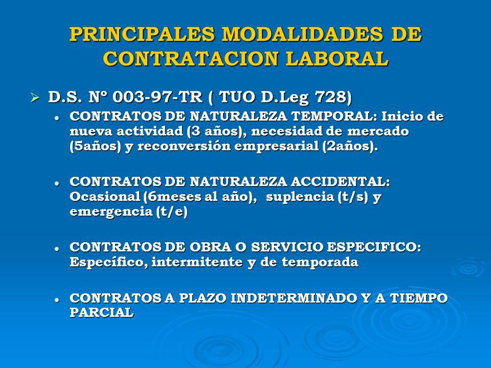 PRINCIPALES MODALIDADES DE CONTRATACION LABORAL