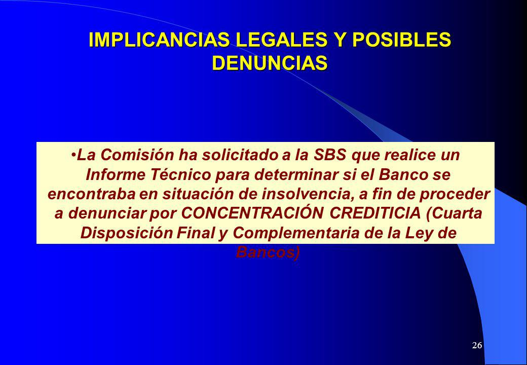 IMPLICANCIAS LEGALES Y POSIBLES DENUNCIAS